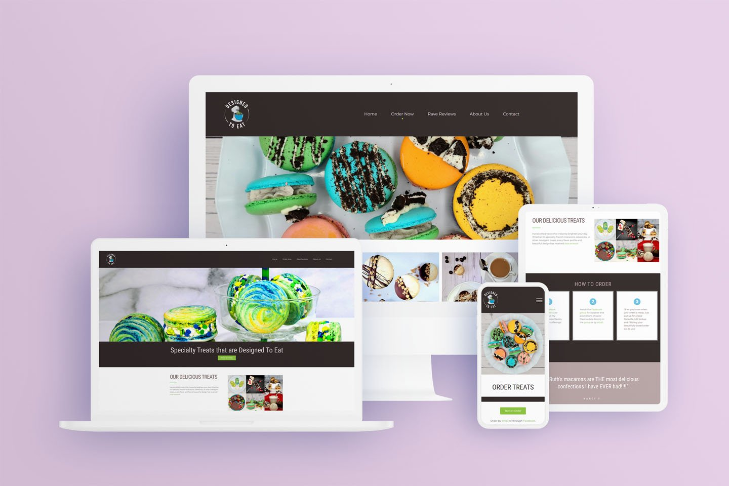 Designed To Eat Website shown on different size devices